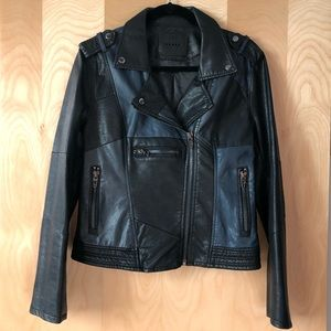 Blank NYC patchwork moto vegan leather jacket